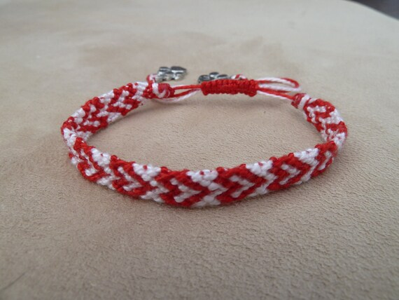 Heart Design Knotted Friendship Bracelet featuring Silver Paw charms and Sliding Adjustable Closure