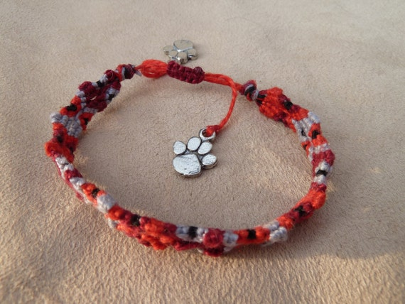 Totem Pole Design Knotted Friendship Bracelet featuring Paw Print charms and Sliding Adjustable Closure