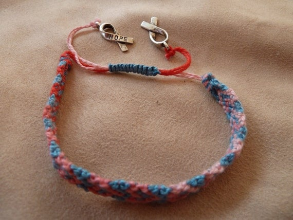 Heart Design Knotted Friendship Bracelet featuring Silver Hope Awareness Ribbon charms and Sliding Adjustable Closure