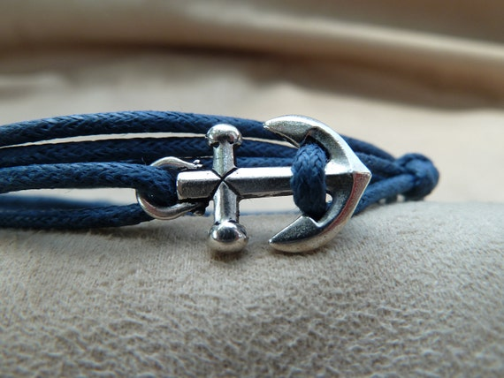 Woven Waxed Cotton Cord Wrap Bracelet with Silver Anchor featuring adjustable slip knot