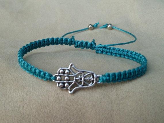 Turquoise Macrame Bracelet with Hamsa Symbol (Hand of Fatima) & Sliding Adjustable Closure