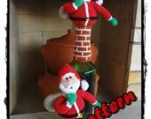 Santa Claus On Chimney - Pdf Amigurumi Crochet Pattern