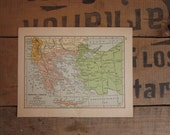Rumania annd Bulgaria Map, Vintage 1930s Map, Colorful Book Plate Map, Albania Greece and Turkey