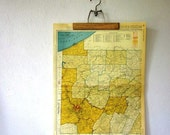 Vintage Poster Map of Western Pennsylvania from 1953 by Rand McNally, Large Map