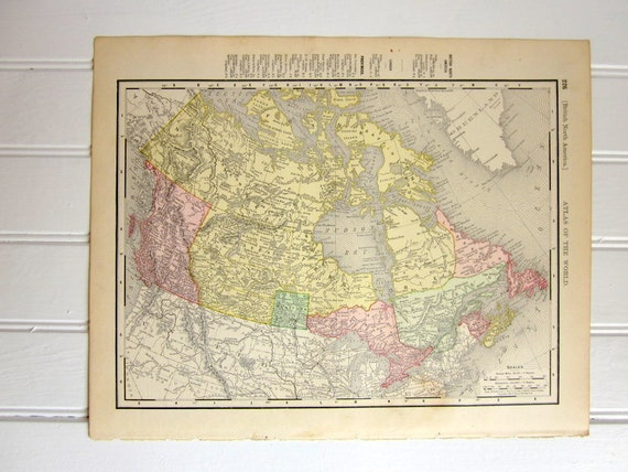 Antique Map of Canada or British North America,  1890s State Map Colorful
