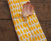 Hand printed 'Hundreds & Thousands' tea towel - Yellow and Pink in 100% Linen