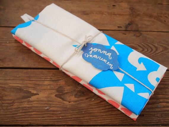 Hand printed Nautical tea towel duo - the blue & pink bundle