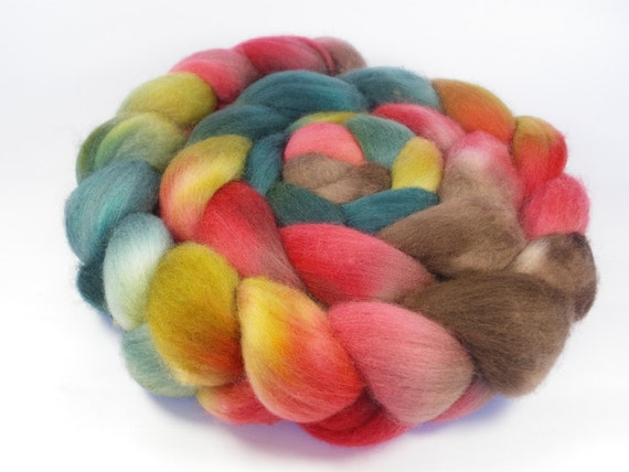 Hand Dyed Merino Roving / Top, Teal, Brown, Red, 3.5oz/100gm