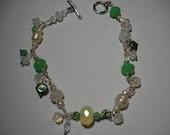 Soft green and white  bracelet