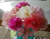 Tissue Paper Flower Bouquet 10 Paper Flowers Pinks and Yellows