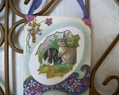 Victorian Bunny Wall Plaque Ornament, Easter Ornament, Easter Greeting, Easter Egg, Bunnies, and Violets, Vintage Easter, ooak