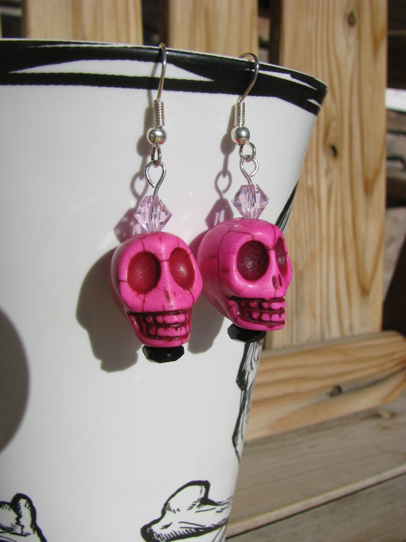 Pink Skull and Crystal Earrings