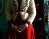 Vintage Embroidered Mohair Cardigan size small medium