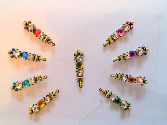 Multicolor Intricate Bindi Set of 9