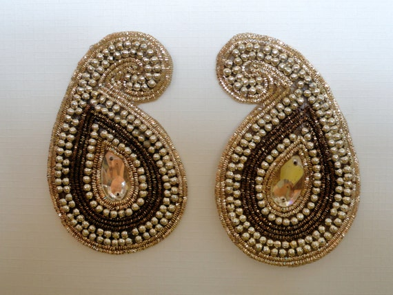 Golden Beads Purl Paisley Sew On Applique One Pair Embellishments