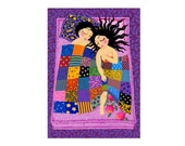 LARGE CONTEMPORARY giclée canvas print from original acrylic painting ready to hang / Adam and Eve / purple yellow pink blue / romantic