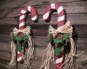 Wall Hanging Candy Cane with Ribbon and Holly