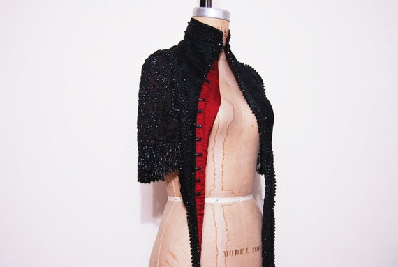 RESERVED// Antique 1800s 1900s black beaded mourning cape. Victorian art deco embellished top.