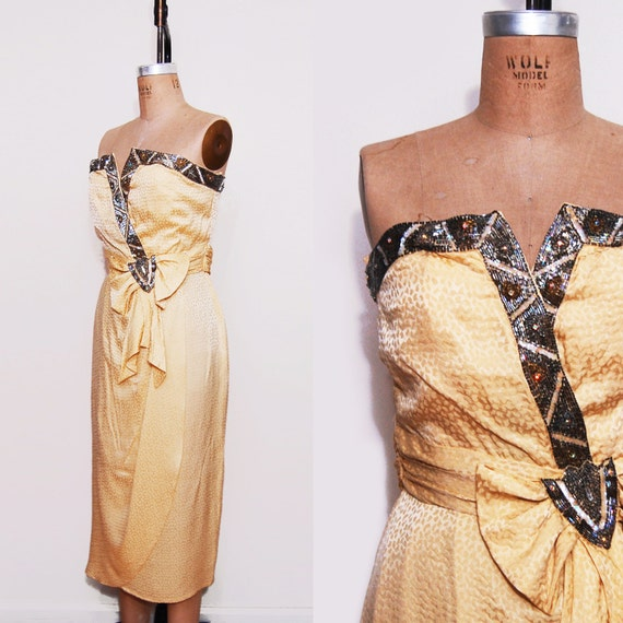 1960s silk wiggle dress. 60s yellow strapless pinup two piece dress.