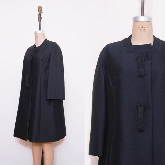 1960s jacket. 60s mod black coat. Vintage spring jacket.