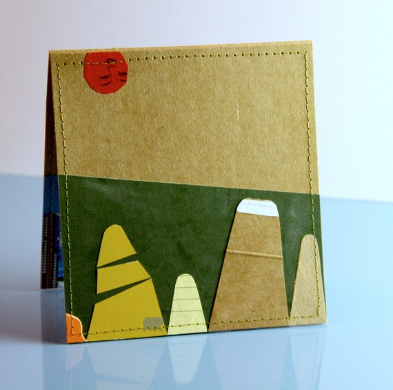 Upcycled Skyscrapers & Mountaintops Card w/ Pockets