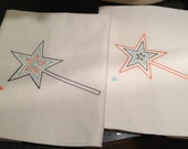 Set of 2  Personalize your Own Colour Scheme - Wand Tea Towels, Homemade embroidery