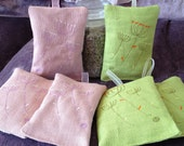 """Set of 2, Lime Green Linen or Pink - Organic French Lavender Cushions - embroidered flowers- approx. 5"""" x 4"""""""