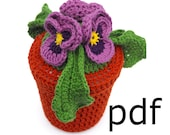 Crochet flowers pattern - pansy in pot