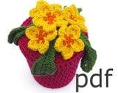 Crochet pattern of primrose flowers in pot (pdf)