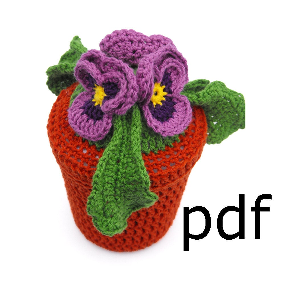 Items similar to Crochet flowers pattern - pansy in pot on ...