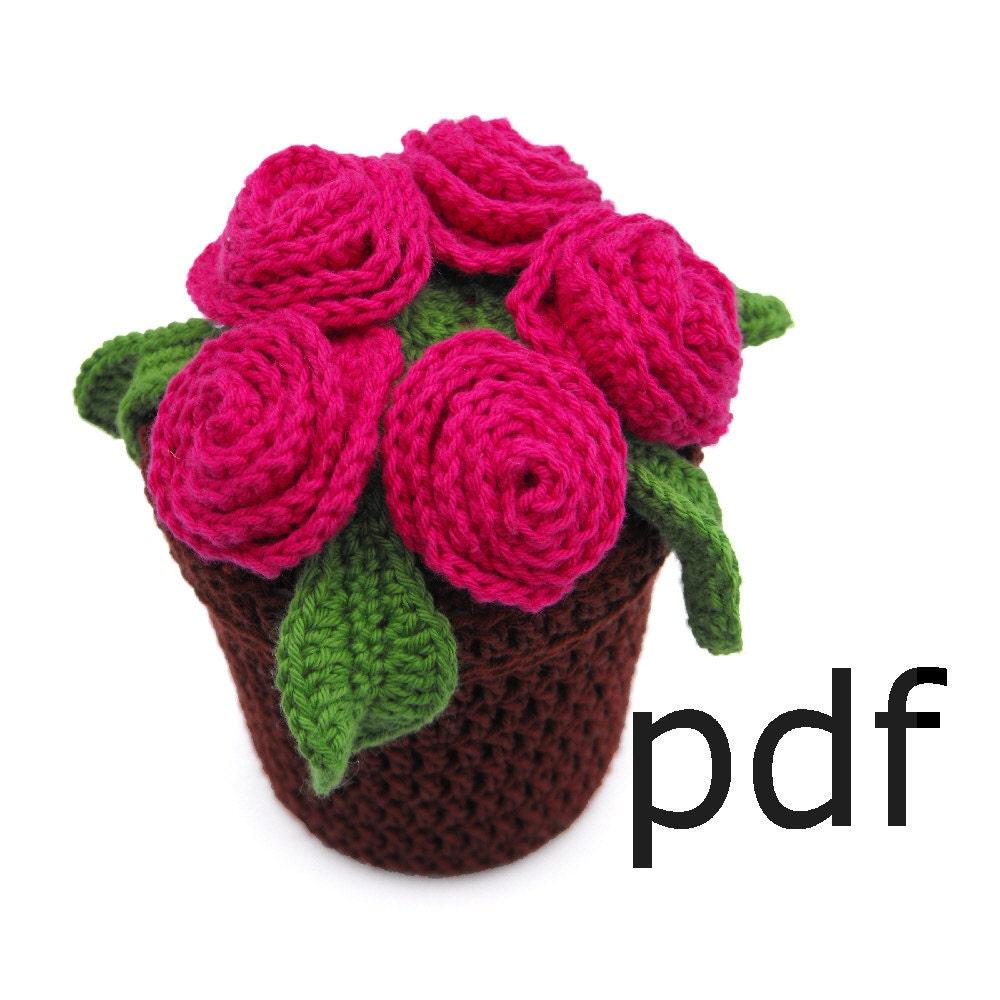 Amigurumi Flower Pot : Crochet Pattern for flowerpot full of roses