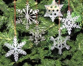 6 Clear Acrylic Snowflake Ornaments with Gift Box