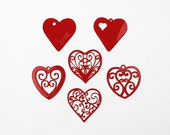 Opaque Red Acrylic Wedding Heart Decorations with Gift Box