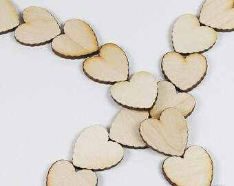 1.0 Inch Scalloped Wood Hearts for Crafts Scrapbooking Charms Decorating