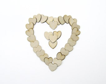 0.75 Inch Wooden Hearts for Weddings Crafts Scrapbooking Charms Decorating