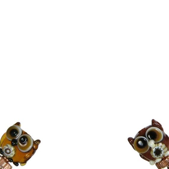 Owl Earrings, Lampwork Glass Bead, French Hook