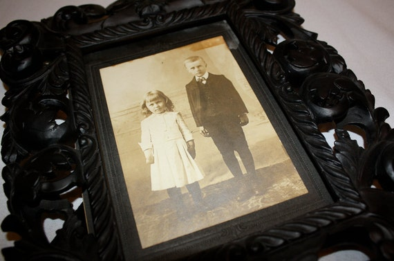 Ornate Black Frame with Vintage Photograph of Children