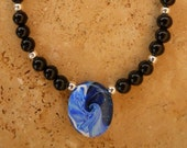 Blue Wave Necklace - California Surfer Style Jewelry - Black Beaded Necklace with Handmade Polymer Clay Focal Bead