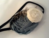 Cream and Blue Fabric Rosette Elastic Headband with Feathers