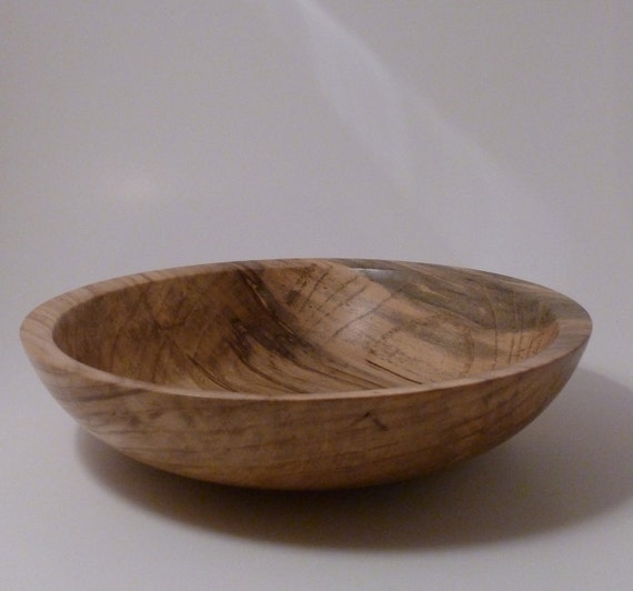 Hand Turned Spalted Hackberry  Wooden Bowl 32 Handmade Salad Bowl