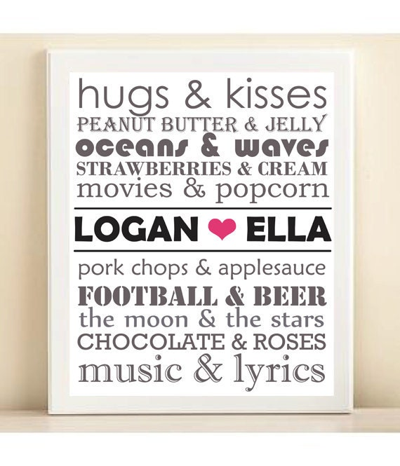 Items similar to Valentines Day Gift Personalized Couple