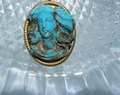 Turquoise Cameo Maiden Pendant For Romantic Patrons