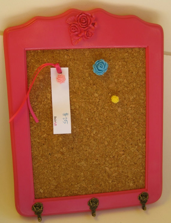 Hot pink roses bulletin board with little hooks by by for Cork board with hooks