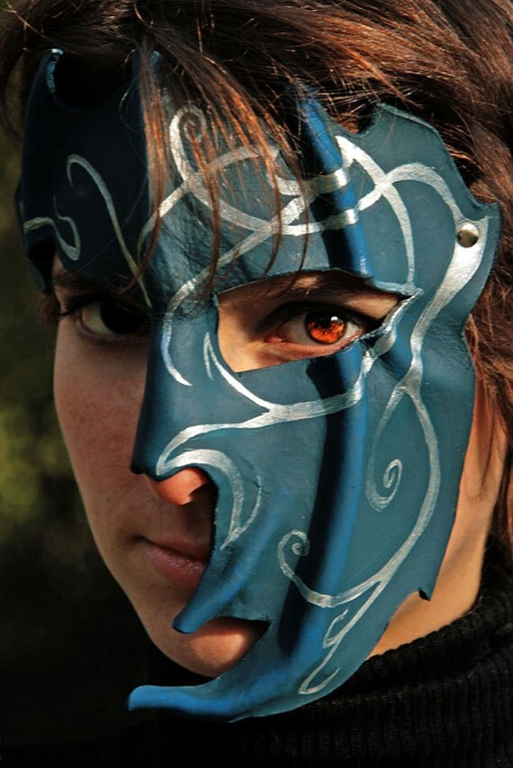 MADE TO ORDER - blue magic leather Mask Fantasy Larp Pagan costume wicca mardi gras burning man renaissance fest faire