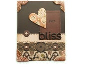 """Greeting Card, """"Pure Bliss"""" in Brown and Cream, Blank Inside, 5x4, Blank Inside"""