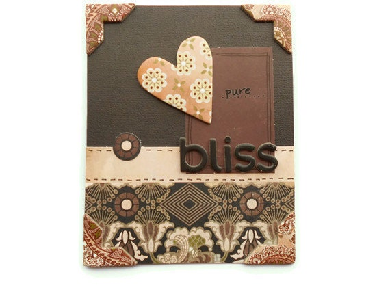 "Greeting Card, ""Pure Bliss"" in Brown and Cream, Blank Inside, 5x4, Blank Inside"