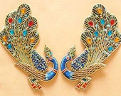 2 Hand Beaded Appliques. Brilliant Peacocks