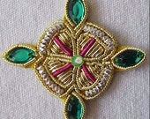 4 Hand-Embroidered Appliques. Gold & Silver Bullion. Green Faux Gems.