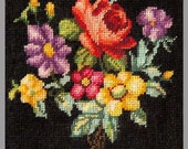 Completed Micro Petit Point Applique. Tiny Needlepoint. 40 Mesh. Floral Bouquet Petitpoint
