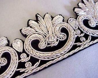 Hand-Beaded Trim. Tudor Silver. Bullion on Black Velvet